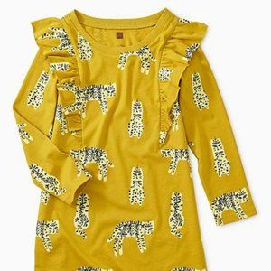 Tea Yellow Leopard Ruffle-Front Shift Dress